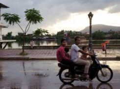 Family on a Motorbike in Kampot