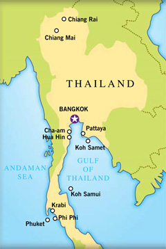 Map of Thailand resorts