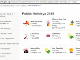 Chinese New Year 2015 Singapore Public Holidays